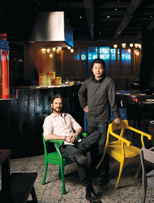 Axel Burbacher and Guanfeng Guan, Longmarch Canteen with the Raw Lounge Chair by HEY